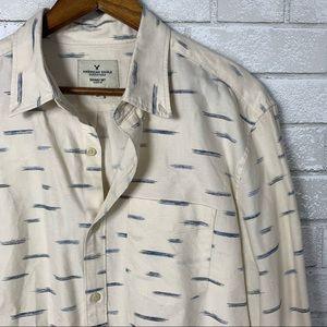 American eagle dress shirt cream blue